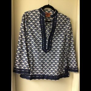 Tory Burch blue and white long sleeves tunic Top
